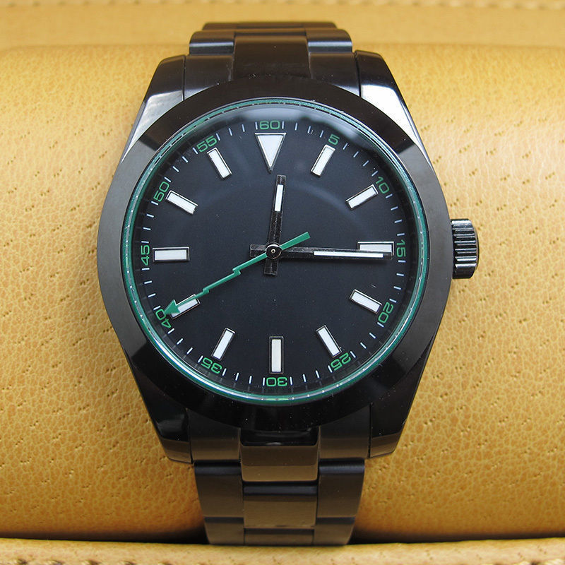 40MM Black Sterile Dial PVD Case Sapphire Crystal Green Flash Second Hand Luminous Marks Automatic Movement Men's Watch B2A-in Mechanical Watches from Watches    1
