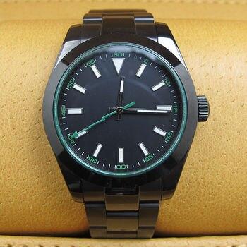 40MM noir stérile cadran PVD boîtier saphir cristal vert Flash seconde main marques lumineuses mouvement automatique montre pour hommes B2A
