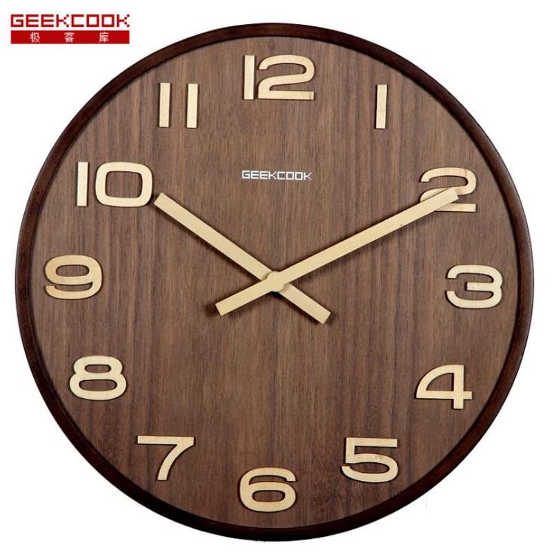 Velké 14 palcové dřevěné nástěnné hodiny velká čísla snadno čitelná pro obývací pokoj