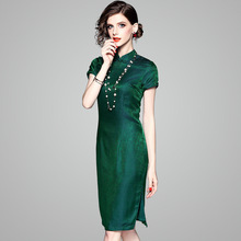 4d61003c0f502 dark green silk qipao dress 2019 spring summer women long casual sexy  bohemian beach dresses plus