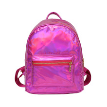 цена на Fashion Laser Backpack Women Girls Bag PU Leather Holographic Backpack School Bags For Teenage Girls Travel Bag Mochila Feminina