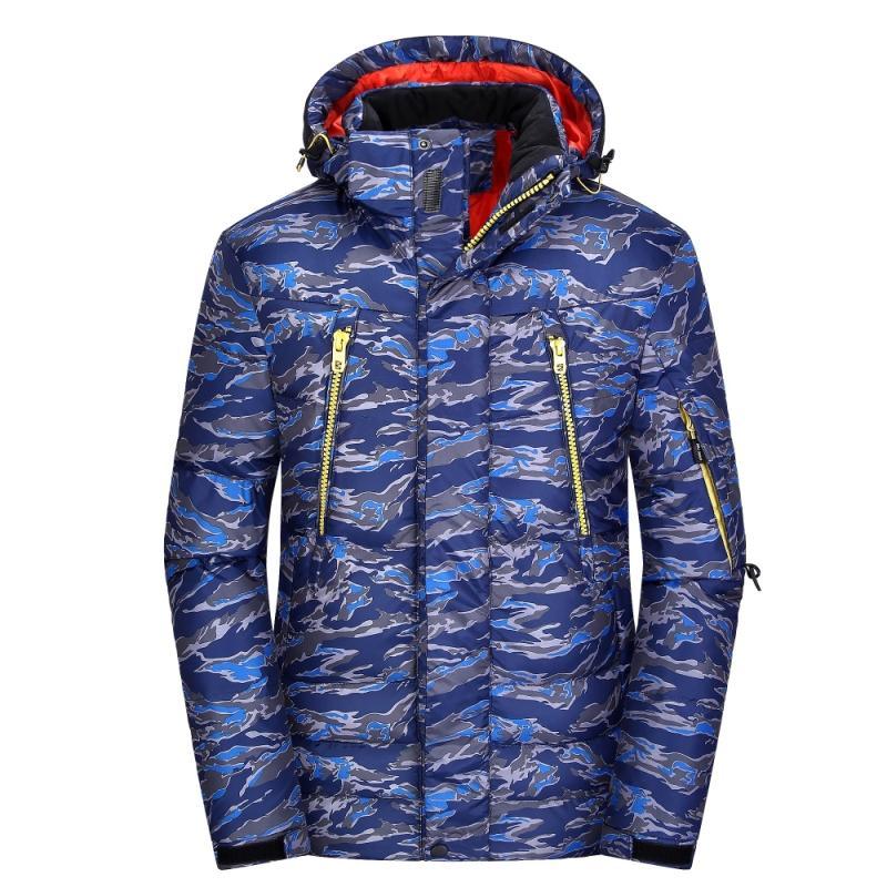 Loldeal hommes veste mode Style européen survêtement Camouflage à capuche détachable épaissir chaud coupe-vent veste ski costume mâle