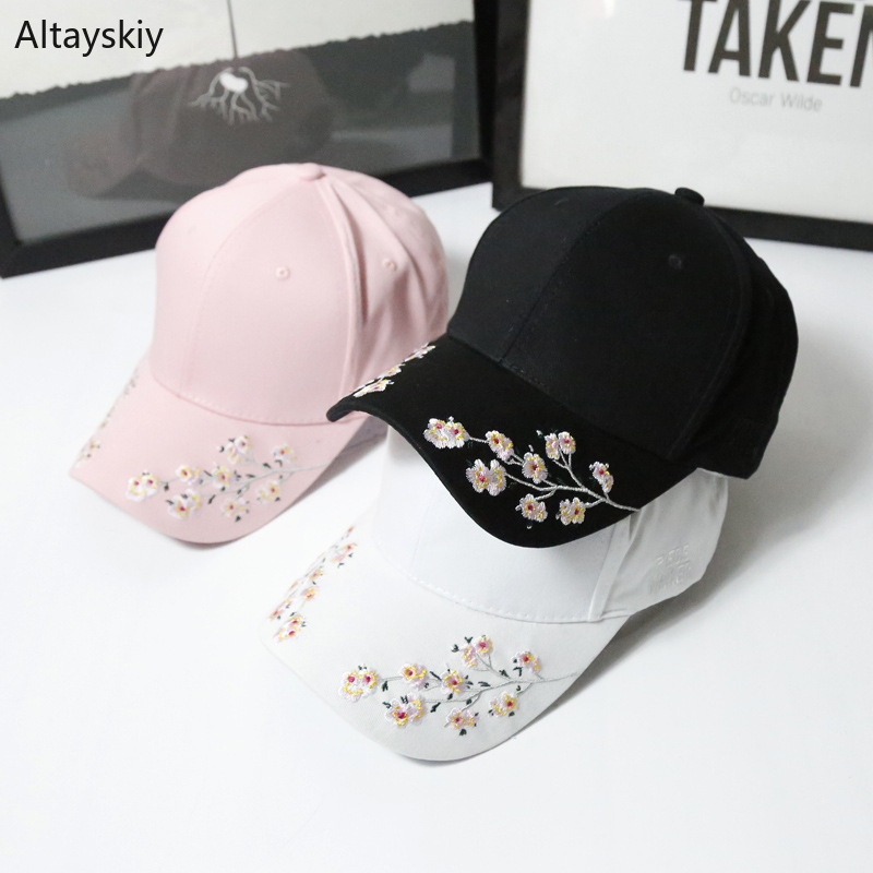 Baseball Caps Women Solid Floral Embroidered Sun Shade Womens Cap Simple Elegant Trendy Chic All-match Leisure Outdoor Students