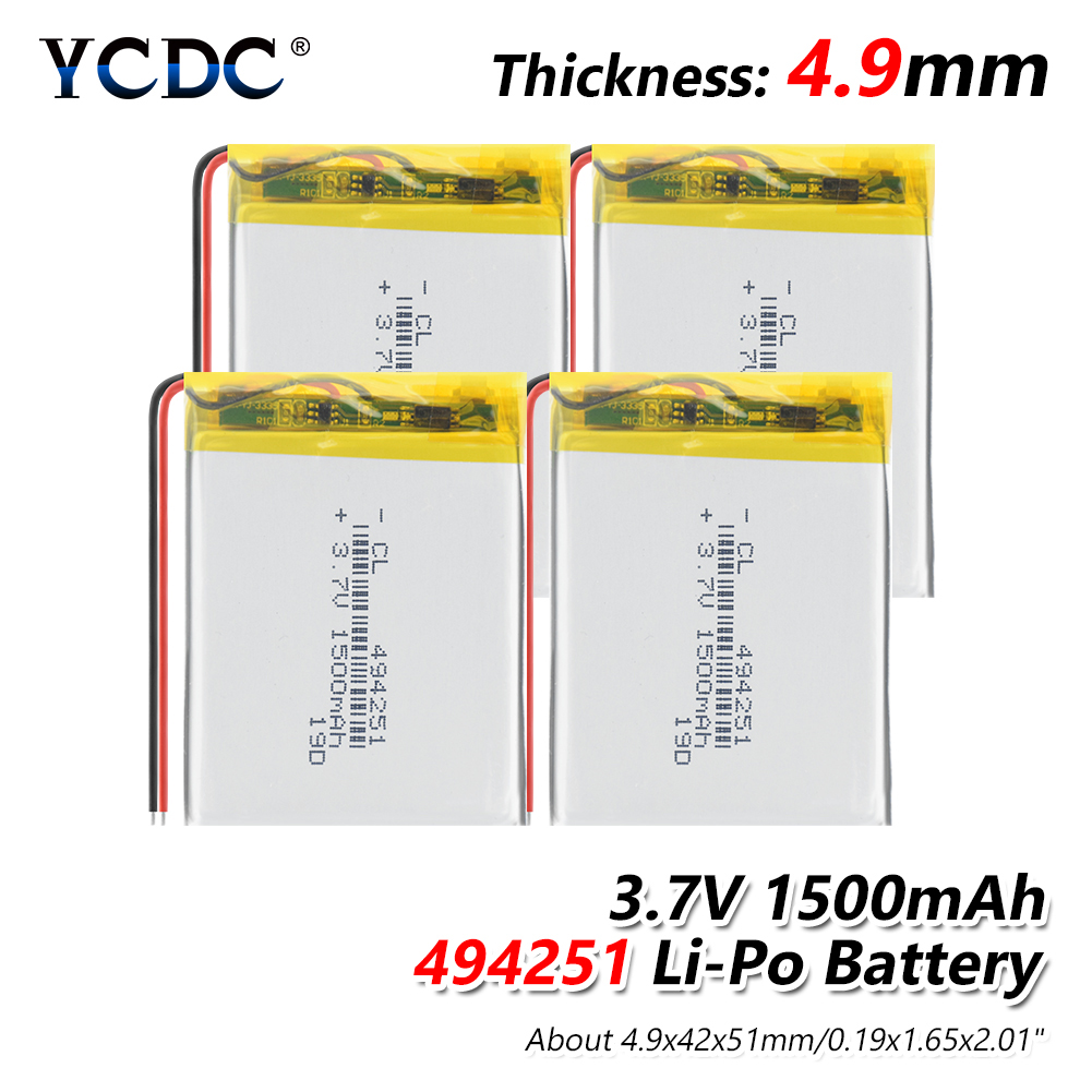 <font><b>3.7</b></font> <font><b>V</b></font> 494251 <font><b>1500mAh</b></font> lithium-ion polymer battery For MP3 MP4 MP5 GPS KTV household battery amplifier audio computer microphone image