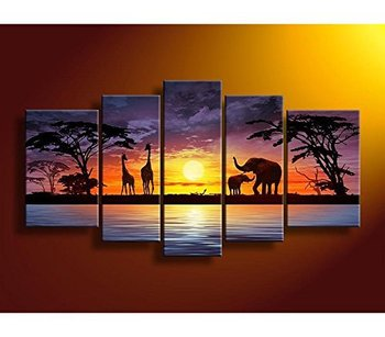 5 Pcs/set 100%  Hand-painted Africa Animal Seaside Scenery Art Decoration Oil Painting On Canvas Wall Pictures For Living Room