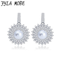 Fyla Mode AAA Cubic Zircon Micro Paved Simulated Pearl Round Sunflower Design Earrings Women Statement Jewellery