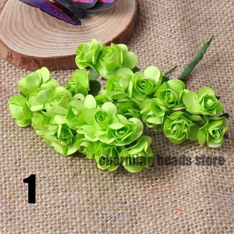 24 шт. 15 мм мини искусственный Бумага розы букет Свадебный декор Скрапбукинг DIY cp0022x - Цвет: 1