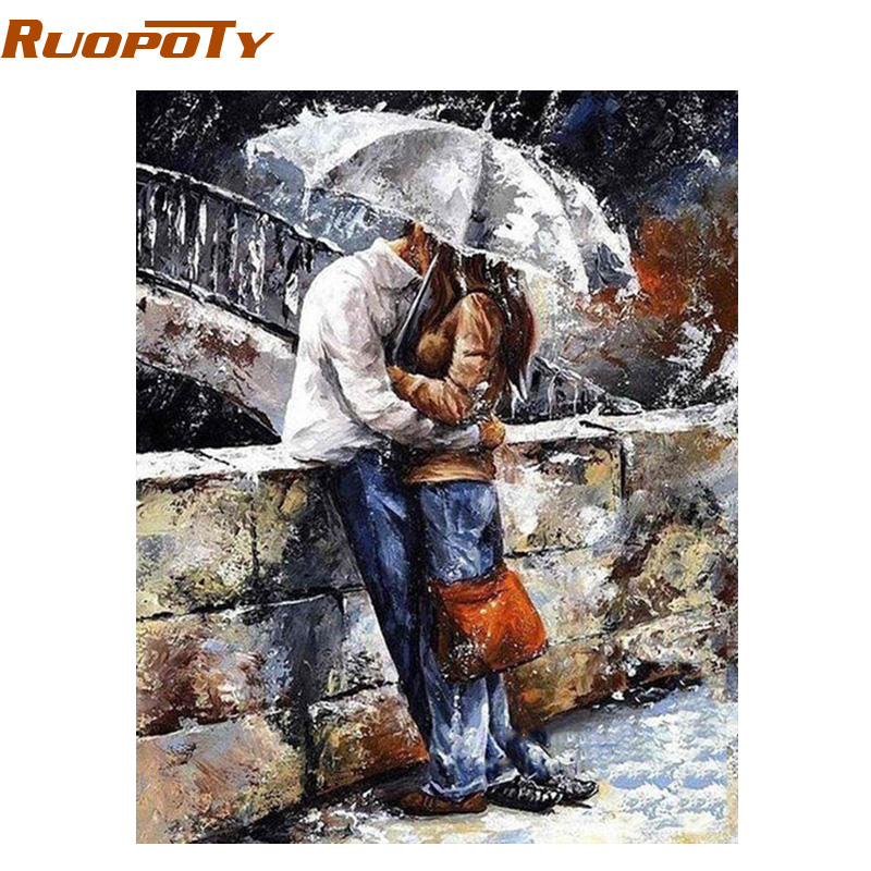 RUOPOTY Frame Lovers DIY Painting By Numbers Hand painted Oil Painting Wall Art Picture Home Artwork For Wedding Decoration