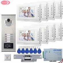 7″ Screen Apartment Video Intercom Door Phone System 8 Monitors RFID Access Door Camera For 8 Family House +Electric Strike Lock