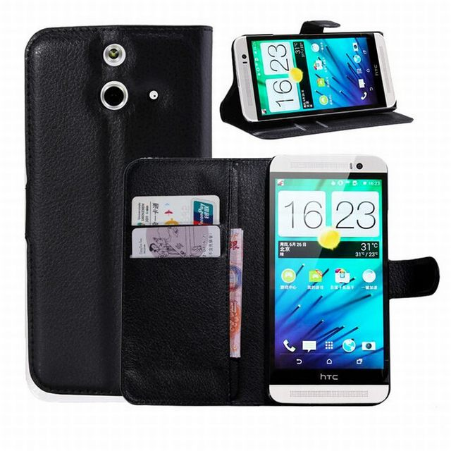 For HTC one E8 case cover ,New 2014 Lychee leather wallet stand phone case cover For HTC one E8  1pcs