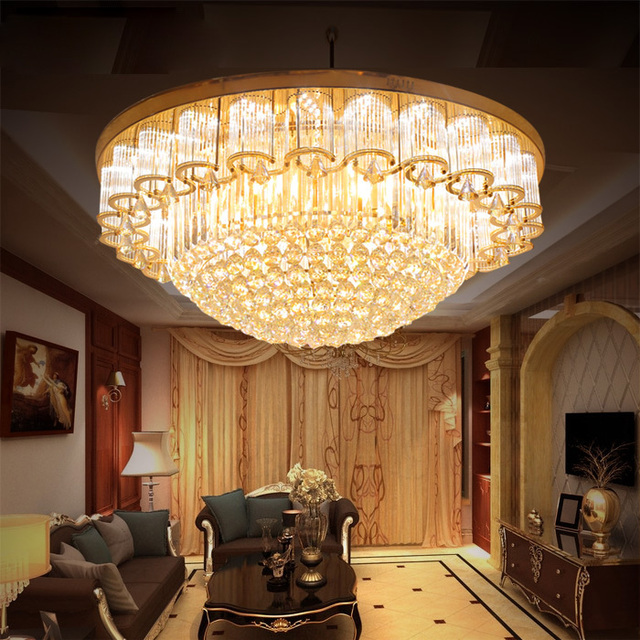Round Crystal Lights Luxury Lobby European Living Room Light Rectangular  Crystal Ceiling Lamps Led Lighting Fixture