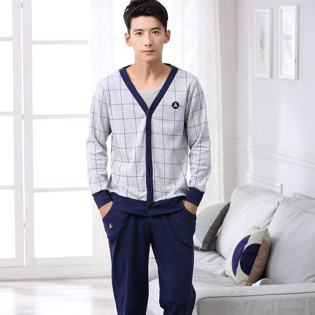 2016 New Winter Pajamas Couple Keep Warm Comfortable Long-sleeved Cardigan Three-piece Men's Outerwear Home Clothes MJSUQJ6502