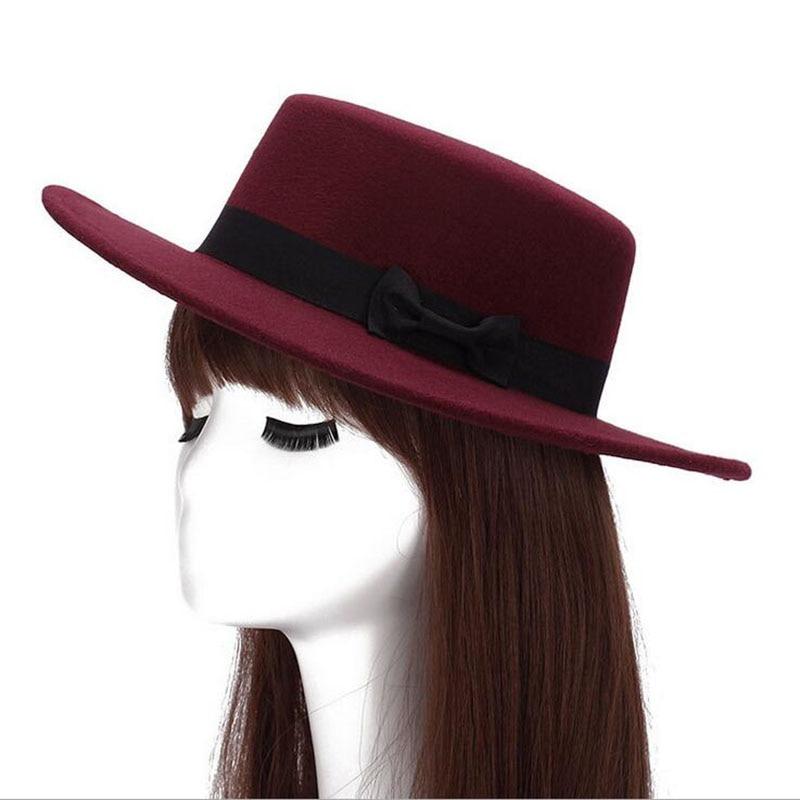 2016 Autumn Winter Mens Hats Fedoras Vintage Women Girls Felt Fedoras Flat  Top Jazz Hat Church 3340d0a2e96c