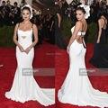 Белый Русалка Спинки Selena Gomez Платье Выпускного Вечера на 2015 Ндпи Бал Красном Ковре Формальное Вечернее Платье платье sereia