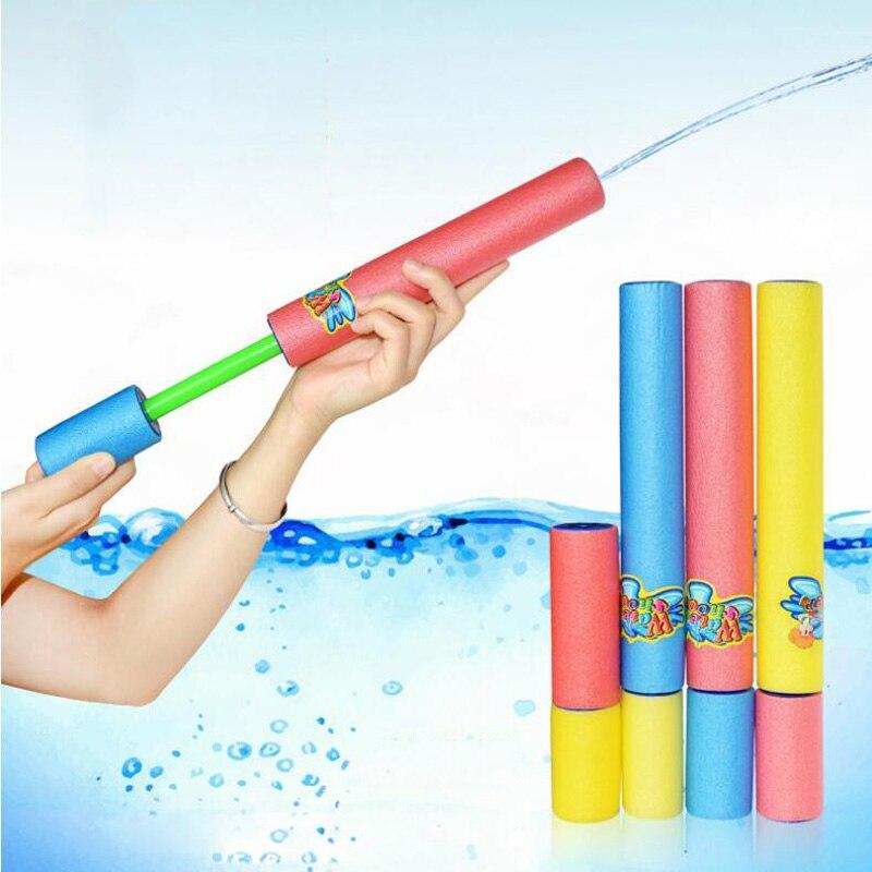 Children's Summer Beach Play Water Toys Straight Foam Pistol Shooting Cannon Toy EVA Material Pull Type High Pressure Water Gun