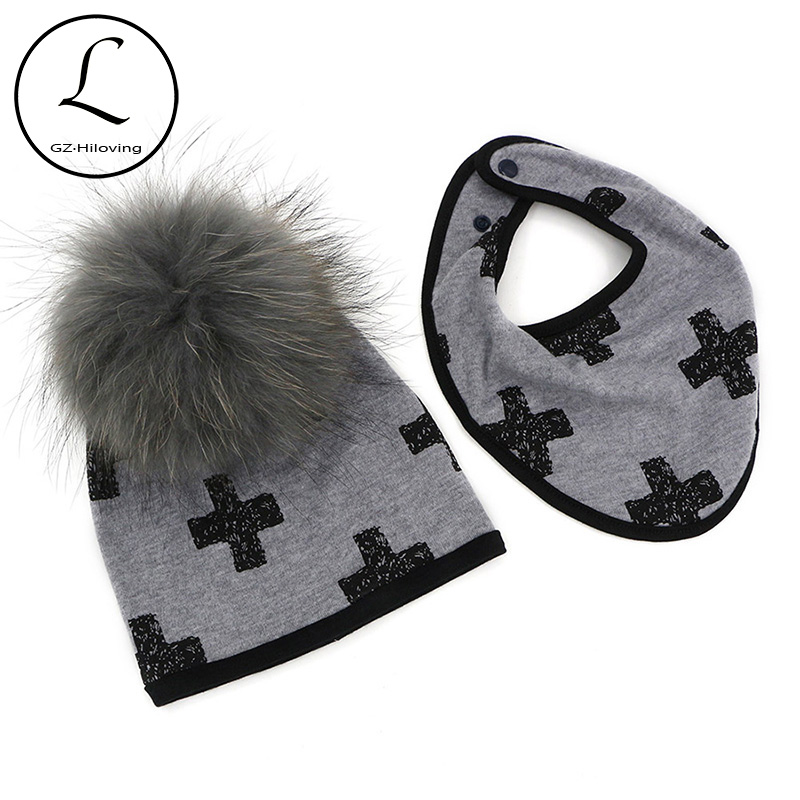 GZHILOVINGL 6 Month - 2 Years New Fashion Baby Kids Beanie For Boys Girls Cotton Skullies Beanies Hat With Real Big Fur Pom Pom 2017 casual 100% cotton star design top spring hat for baby 6 months 2 years girls boys unsiex caps with raccoon fur pompom