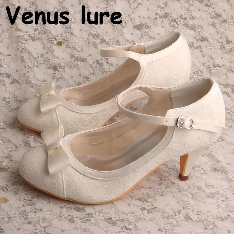 HC1620 Women Shoes Low heel Wedding Bridal shoes White Ivory