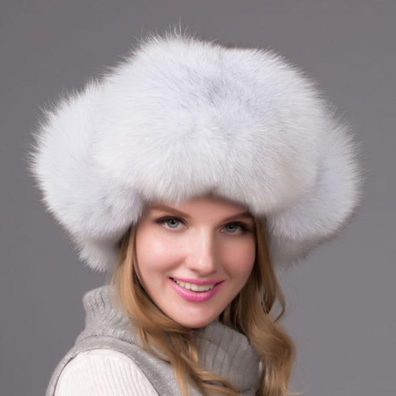 ФОТО Luxury Silver fox fur cap women's winter hat windbreak tab protect ear cap for women