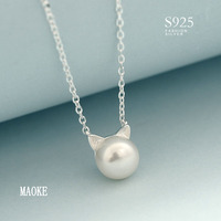 Promotion S925 Sterling Silver Natural Freshwater Pearl Cat Head Necklace for Women's Fashion Gifts