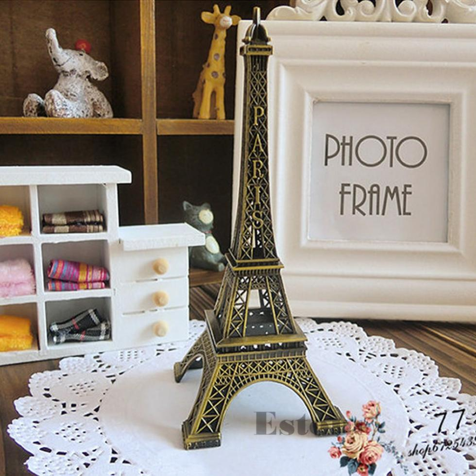 Home Decor 15cm Retro Alloy Bronze Tone Paris Eiffel Tower Figurine Statue Model China