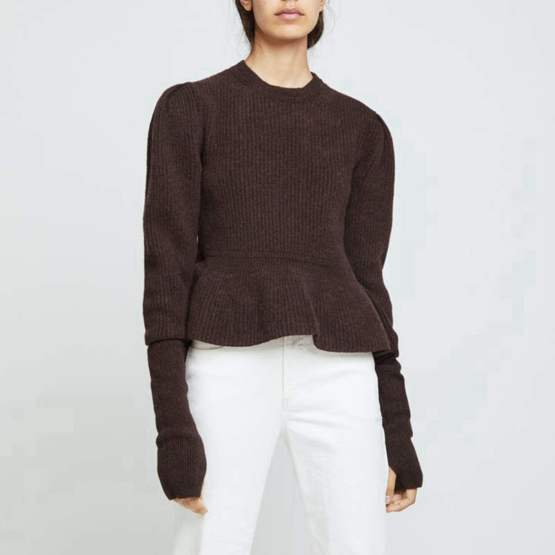 Designer/'s Style Women Grey Peplum Ruffle Oversized Wool Sweater Jumper