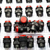 PHISCALE 20pcs push button switch R16 503BD 16mm round shape non locking with red light 250v 3A 4pins