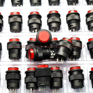 Image 1 - PHISCALE 20pcs push button switch R16 503BD 16mm round shape non locking with red light 250v 3A 4pins