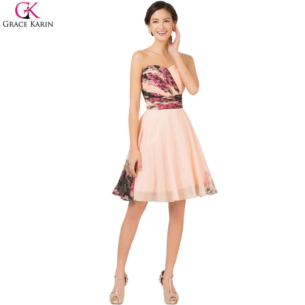 Short Bridesmaid Dresses Grace Karin Flower Pattern Fl Print Chiffon Plus Size Wedding Party Dress Robe Demoie D Honneur In From