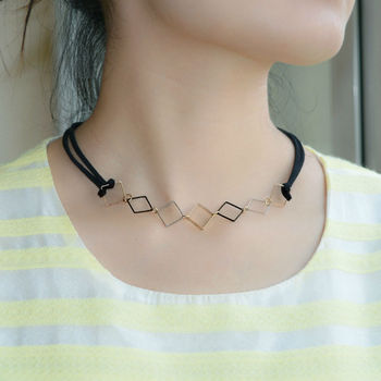 2016 New Design Trendy Double Black Leather Chain Choker Necklace Wrap Small Gold Silver Plated Square Pendant For Women Girls