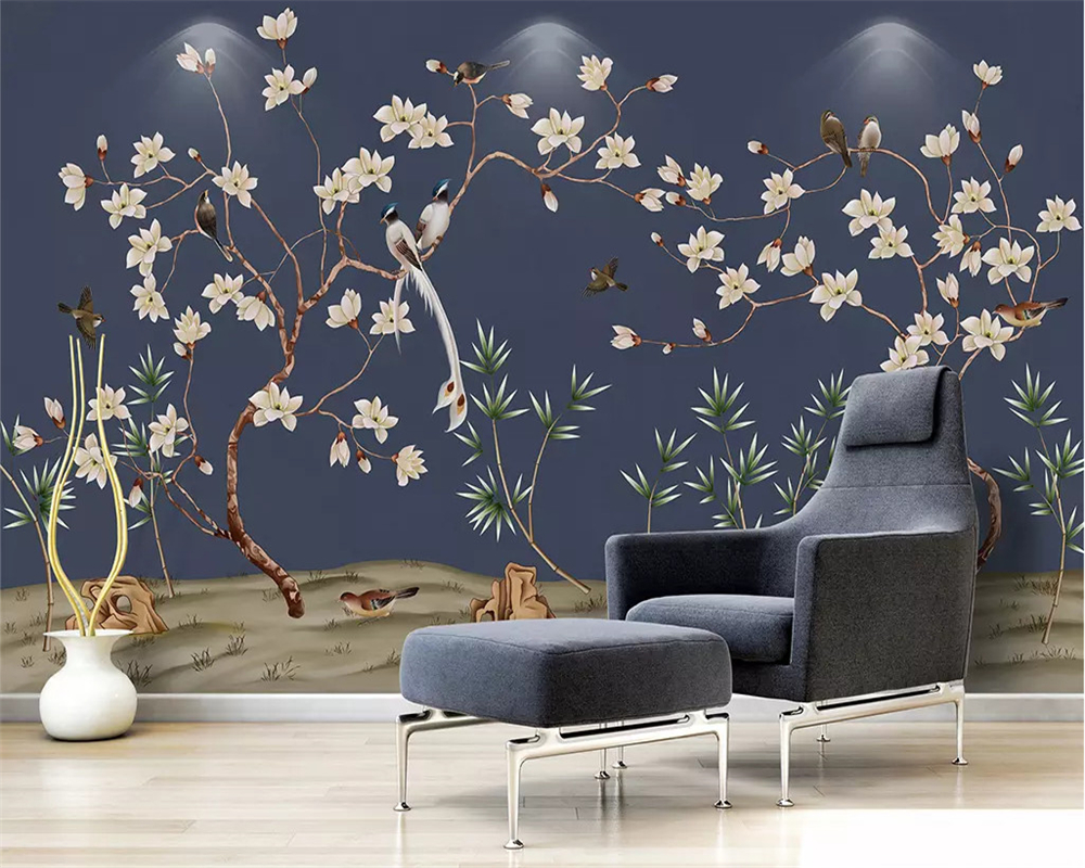 Us 885 41 Offbeibehang Custom Fashion Decorative Painting Wallpaper Magnolia Hand Painted Flowers Birds New Chinese Background Papier Peint In