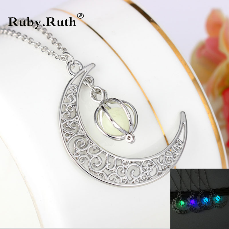Fashion Women's stone shine moon Charm Luminous Stone necklaces Pendants fashion jewelry Statement Necklace