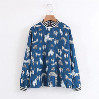 New Fashion Women Blouses Shirts Round Collar Long Sleeve Character Animal Printed Casual Loose Pullovers Blusas Tops