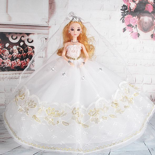Wedding Dress For Barbie Doll Princess Evening Party Clothes Wears Long Outfit Set With Veil In Dolls Accessories From Toys Hobbies