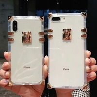 Luxury Transparent Phone Case For iPhone XS Max XR X Trunk Square Women Silicon Phone Case For iPhone 7 8 Plus 6 6s Clear Cover iPhone