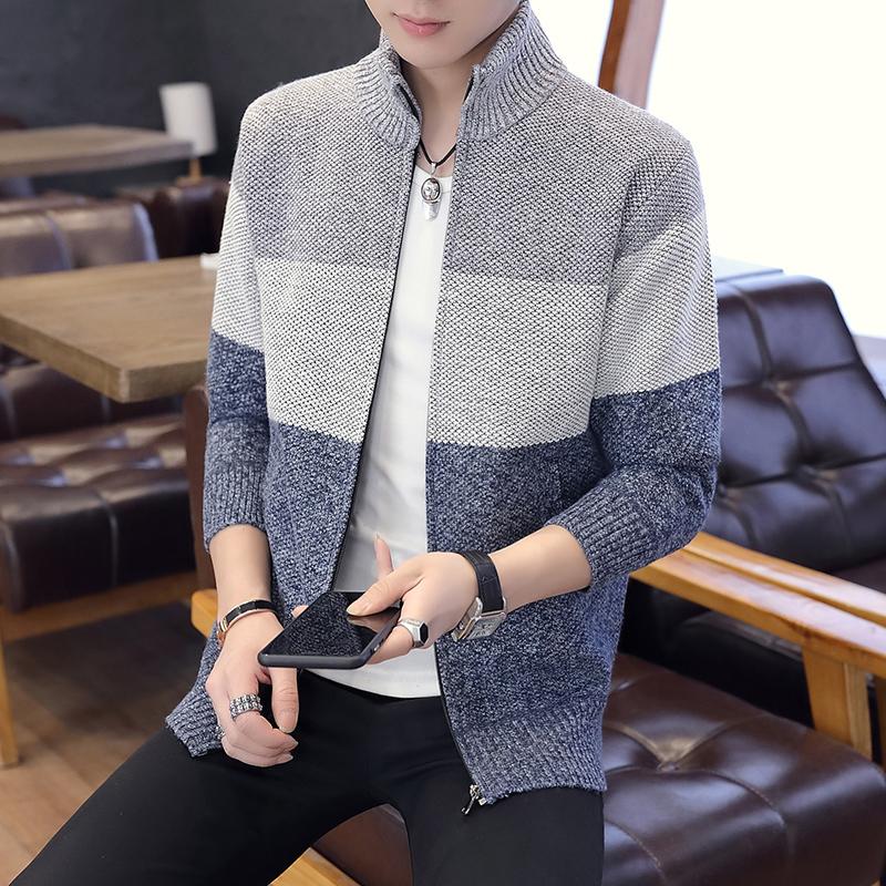 2019 New Autumn Men s Knitted Sweaters fashion Long sleeve stand Collar Male Cardigan stitching Sweaters