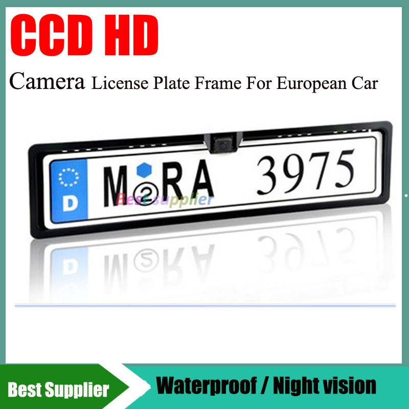 CCD HD European size license plate frame with car reversing rearview ...