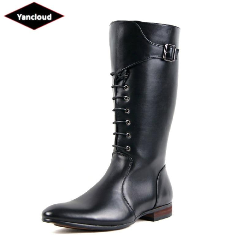 Top qualité imperméable à l'eau longues bottes militaires pour hommes nouveau 2019 Cowboy bottes d'équitation en cuir bottes courtes homme chaussures d'hiver