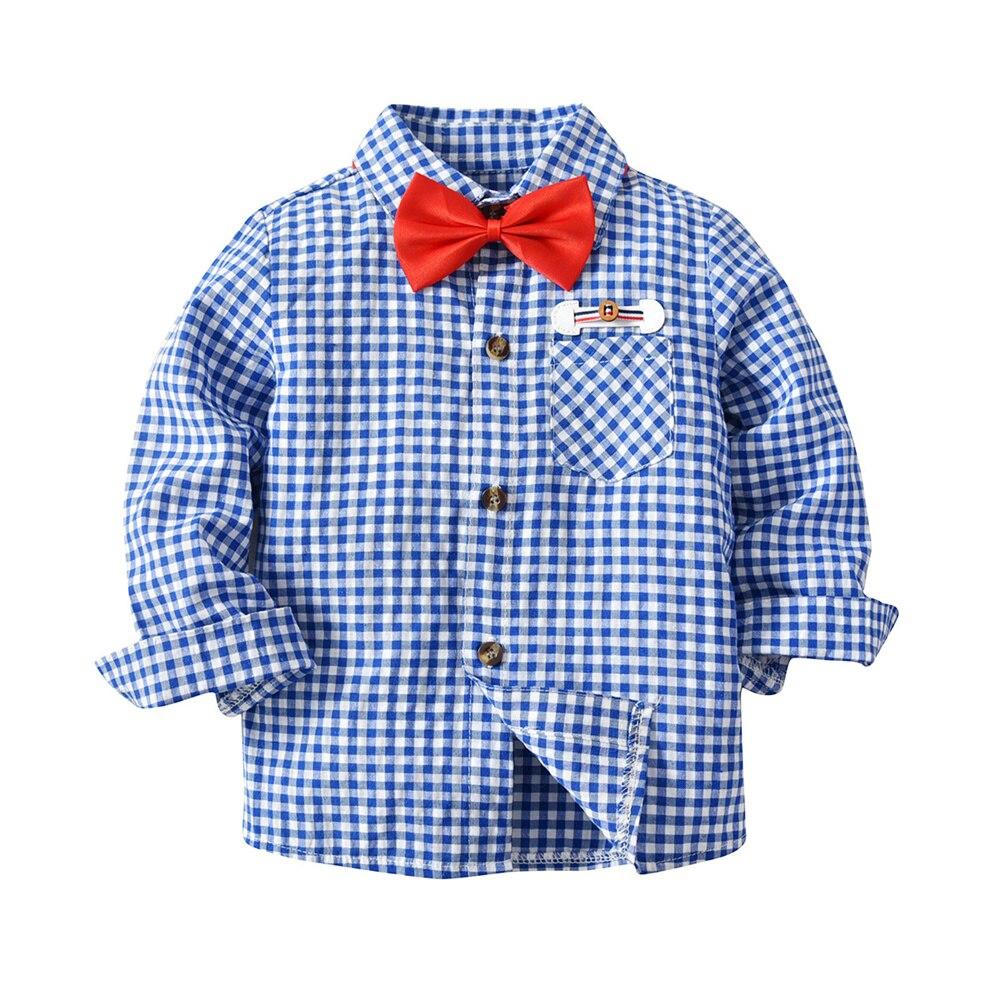 Blauw Kids Jongens Lente Lange Mouwen Bowtie Kleine Grid Plaid Shirt Blouse Top Met Pocket Knappe Verschijning