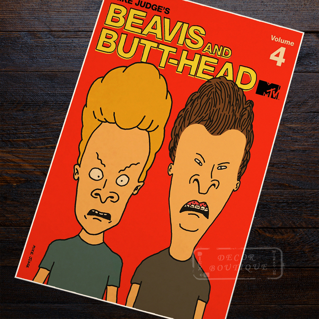 Beavis And Head Animation Punk Rock Band Ilrations Craft Paper Retro Vintage Poster Home Decor Wall Canvas Sticker Gift