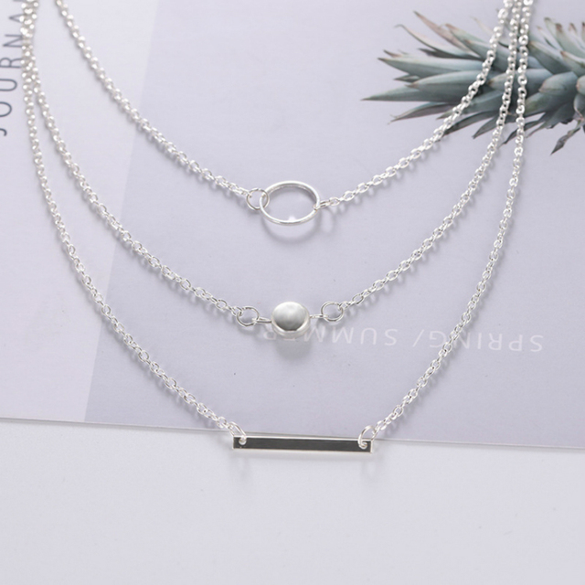 Wild Aperture Metal Rods Necklace Gold Silver Layered Necklace 2