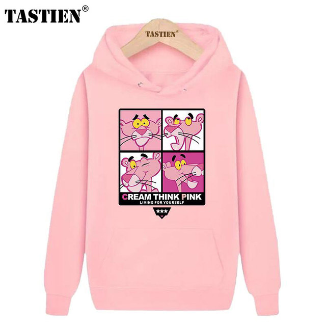 020d55d4 TASTIEN 2018 New Fashion Cute Women Sweatshirts Pink Panther Printed Cotton  Girls Hoodies Cool Loose Pullovers Womens Mens Tops