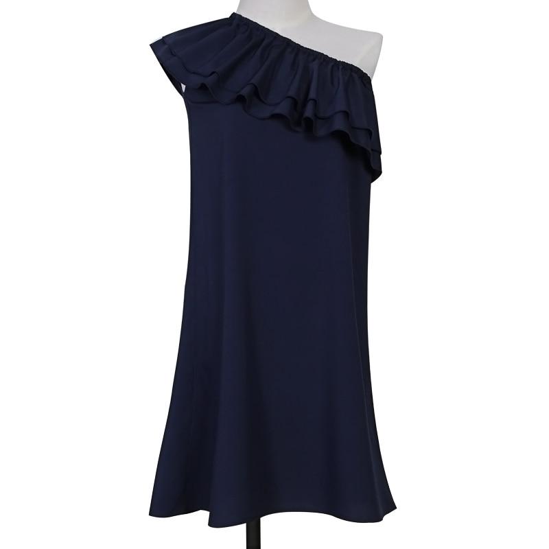 Letní dámské černé šaty Sexy Off Rameno Elegantní volánky Party Mini šaty Plážové šaty Plus Velikost Dámské oblečení WS243X