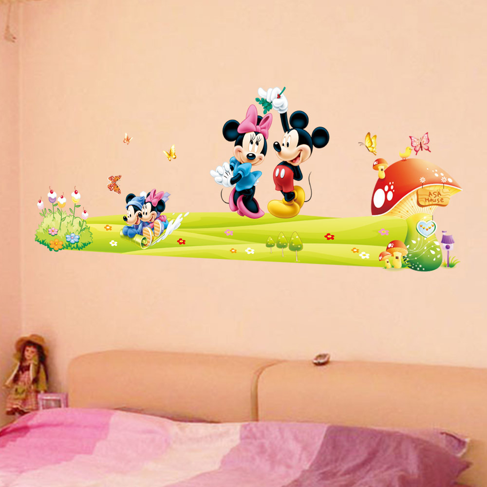 Removable PVC Cartoon Minnieu0026Mickey Mouse Wall Sticker For Kids Room Baby  Nursery Wall Stickers Decal Bedroom Art Wallpaper In Wall Stickers From  Home ...