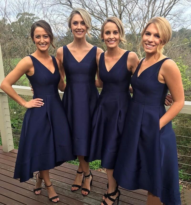 Navy Blue Short Bridesmaid Dresses 2019 Simple Satin A Line Tea Length Cheap Women Wedding Party Gowns Wedding Guest Dress