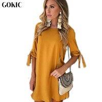 GOKIC Spring Autumn Women Dress 2017 New Bow Sleeve O Neck Elegant Dresses Female Vintage Yellow