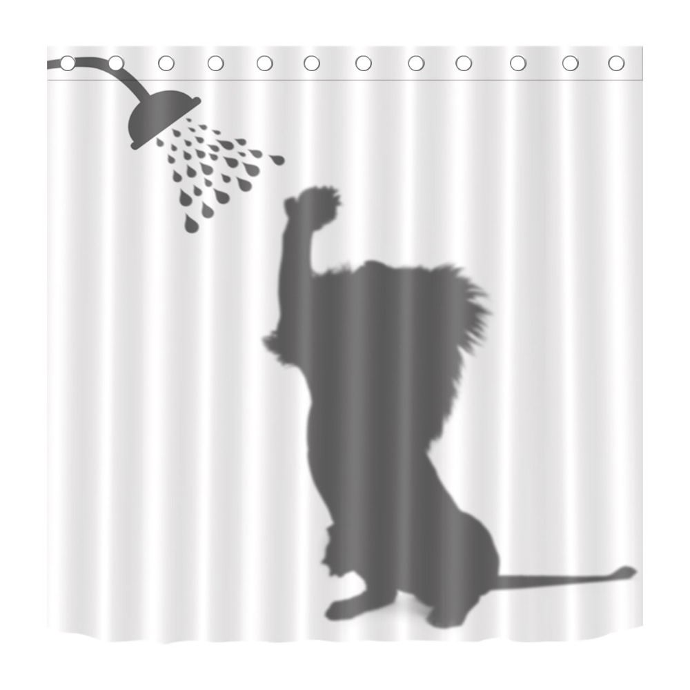 Bathing Lion Shadow Funny Shower Curtain Modern Bath Waterproof Polyester Fabric Bathroom Bedroom Home Decor Hooks Set