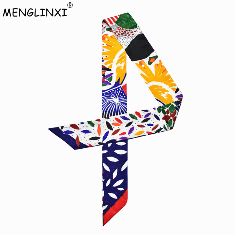 Bag Scarf 2019 New Brand Small Silk Scarf For Women Print Headwear Handle Bag Ribbon New Fashion Skinny Long Scarves