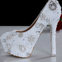 Beautiful Stiletto Heel Round Toe Wedding Shoes Fashion White Imitation Pearl/Rhinestone Bridal Dress Shoes for prom
