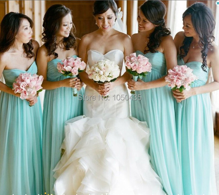 Ever Pretty Mint Green Bridesmaid Dress For Party Long New 2014 Fashion Sweetheart Floor Chiffon A Line Vestido De Festa HB20 In Dresses From