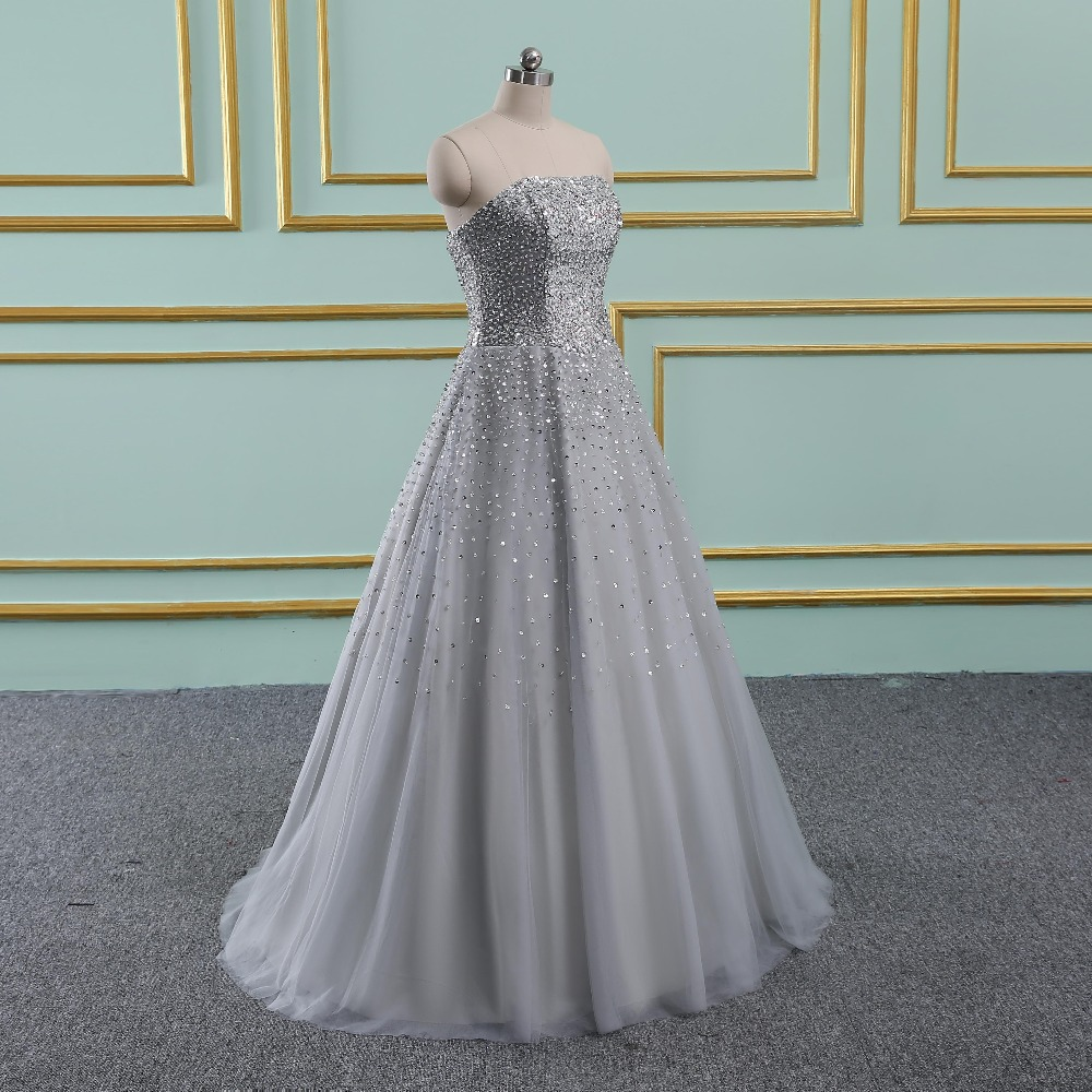 3004cd3c5f US $185.49 19% OFF|Vinca sunny Silver Real Sample Ball gown Beaded Puffy  Tulle Special occasion long sexy prom dresses 2019 new arrival-in Prom ...
